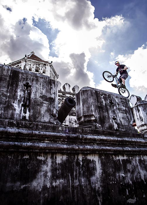 Petr Kraus of the Czech Republic rides across the Phra Sumen Fort as European Red Bull kicked off a week of activities on April 28 to launch it's brand in Thailand.
