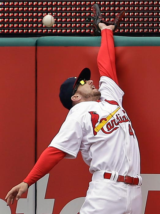 This solo home run slipped past St. Louis right fielder Shane Robinson as the Cardinals fell 9-0 to the Pittsburgh Pirates on April 28.