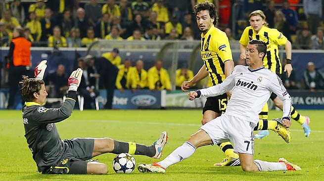 Cristiano Ronaldo gave Real Madrid some hope with a goal against Borussia Dortmund in the first leg.