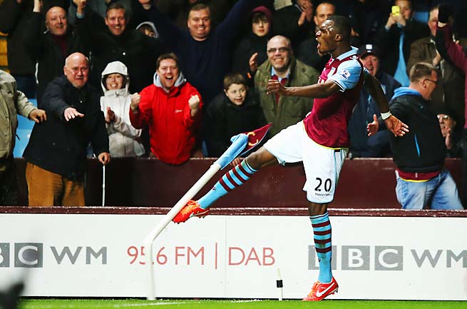 Christian Benteke celebrates one of his three goals in Aston Villa's win over Sunderland.