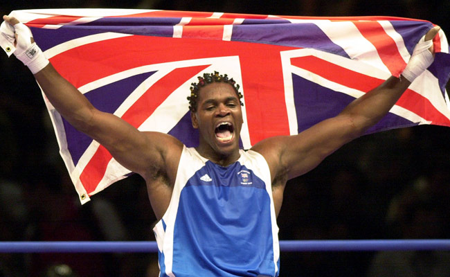 Audley Harrison celebrates his gold medal victory in the +91kg division at the 2000 Sydney Olympics.