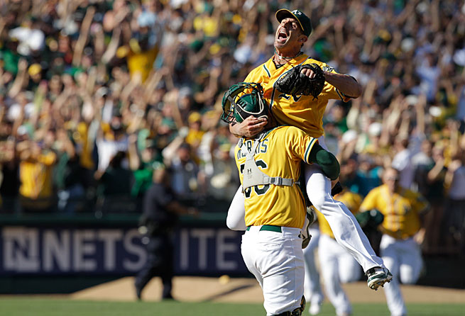 Grant Balfour and the A's will face the Rangers for the first time since edging them for the AL West title on the final day of the 2012 season.