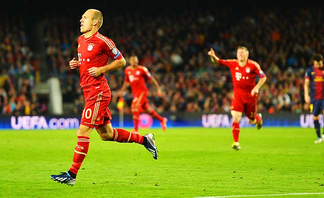 Arjen Robben scored in the 49th minute for Bayern Munich, which is eyeing a treble.