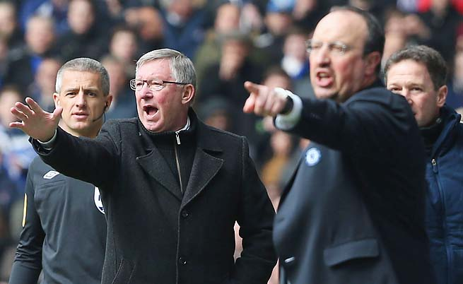 Sir Alex Ferguson (left) and Rafa Benitez have their clubs in first and third, respectively.