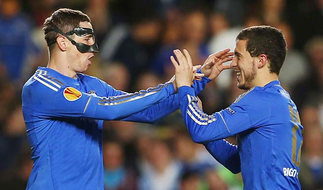 Fernando Torres (left) and Eden Hazard celebrate Torres' goal against Basel.