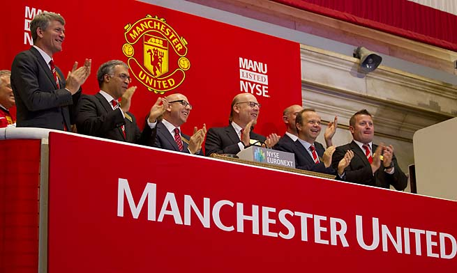 Executives from Manchester United applaud after ringing the opening bell at the New York Stock Exchange in August.