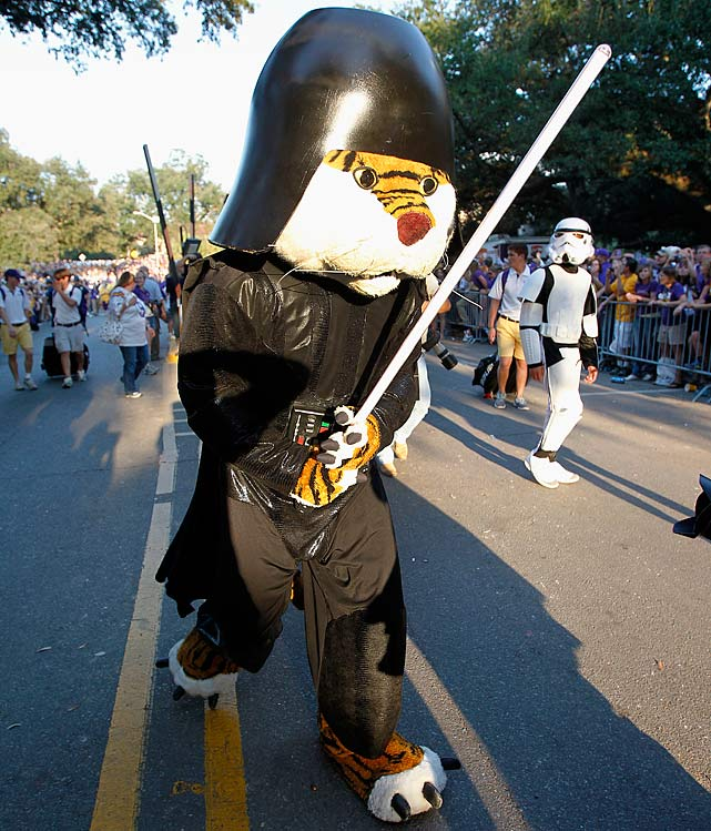 LSU Tigers mascot Mike the Tiger walks the streets as Darth Vader prior to LSU's football game against the Alabama Crimson Tide on Nov. 3, 2012, at Tiger Stadium in Baton Rouge, La.