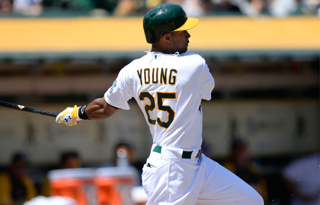 Chris Young was injured during Monday night's 19-inning victory over the Angels.