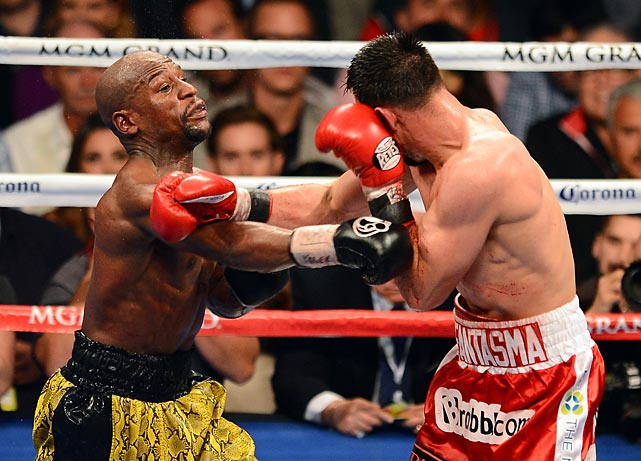 Mayweather said he hurt his right hand while going after the knockout in the eighth round.