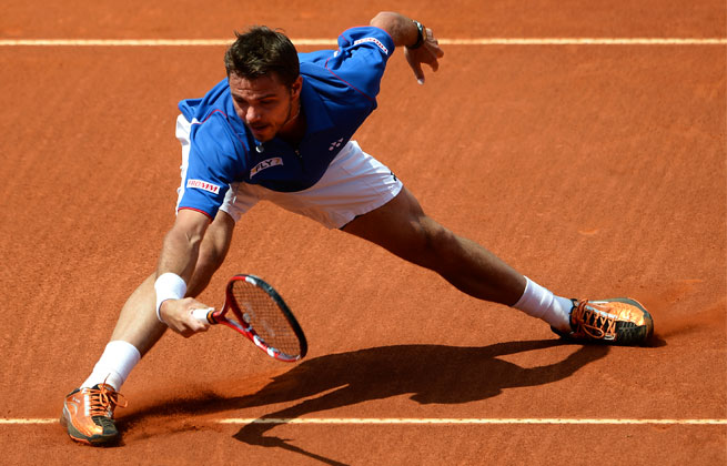 Second-seeded Stanislas Wawrinka broke David Ferrer's serve three times while not giving up one break point to win the match.