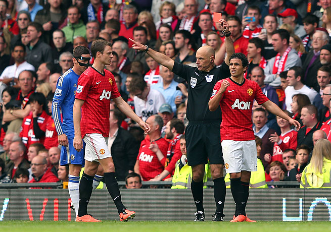 The dismissal of Rafael (right) proved that the champs still felt strongly about losing to rival Chelsea.