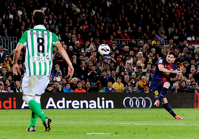 Lionel Messi's first goal of the match came on a free kick after he entered via substitution.