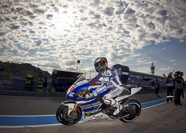 Ahead of the May 5 Spanish Motorcycle Grand Prix, MotoGP rider Jorge Lorenzo enjoyed the Saturday sun with a practice session at the track in Jerez, Spain.