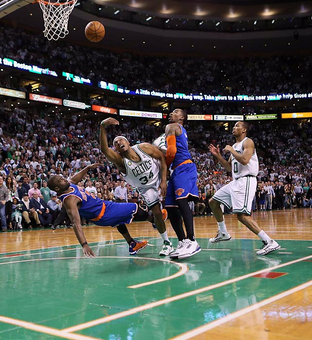 Celtics forward Paul Pierce heaves the ball toward the hoop in Boston's 88-80 May 3rd loss to the Knicks in Game 7 of the Eastern Conference quarterfinals that saw New York through to the next round.