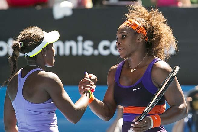 Sloane Stephens (left) beat Serena Williams in the Australian Open quarterfinals.