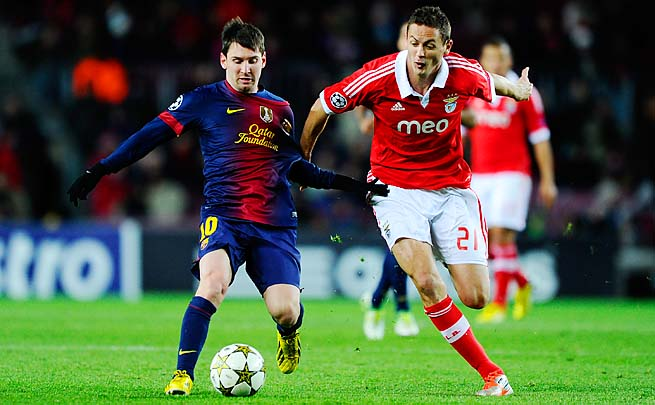 Benfica's Nemanja Matic (right) defends Lionel Messi in a Champions League group-stage match.