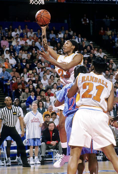 Named the Naismith Women's Collegiate Player of the Century, Holdsclaw averaged 20.4 points and 8.1 rebounds per game in her career. She was the Naismith Player of the Year in 1998 and 1999 and led Tennessee to three straight national titles.