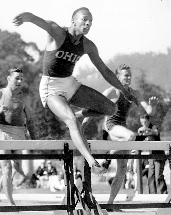 Owens' dominance as an Ohio State athlete can be seen in 45 minutes at the conference championship in 1935. He set world records in the 220-yard dash (20.3 seconds), the 220-yard low hurdles (22.6) and the long jump (26-feet-8-inches) and tied the world record in the 100-yard dash (9.4). A year later, he won four gold medals at the Berlin Olympics.