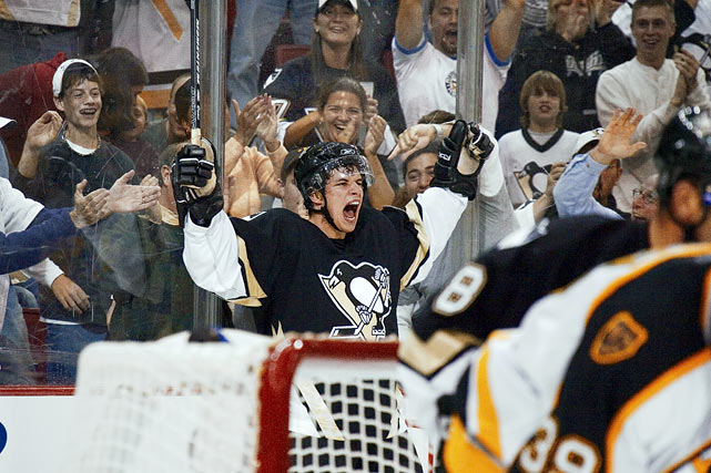 Crosby notched an assist in his NHL debut, and scored two games later in the Penguins' home opener. His first season was a success -- 39 goals, 63 assists, second in the Calder Trophy voting -- but he saw Lemieux retire, coach Ed Olczyk get fired, and his team finish last in the Eastern Conference.