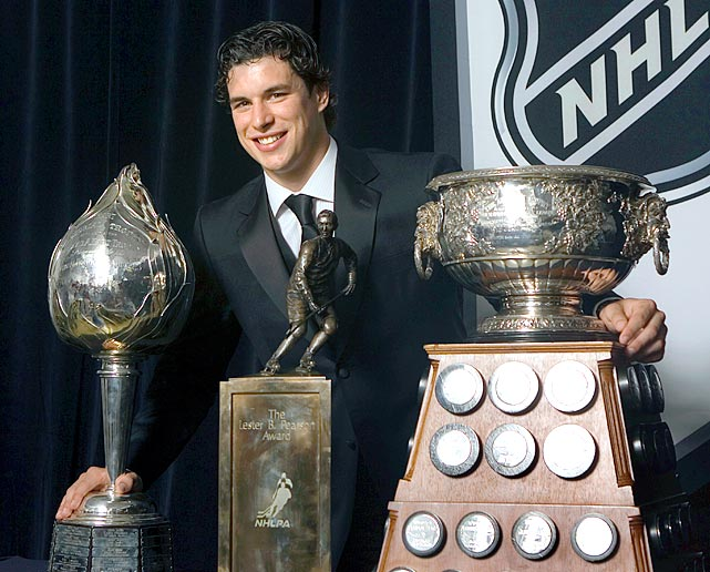 Crosby's second season brought greater individual and team success. At 19, he had 36 goals and 120 points, winning the Art Ross (scoring), Hart (MVP) and Lester B. Pearson (NHLPA's choice for MVP) trophies. The Penguins, boosted by the addition of Evgeni Malkin, made the playoffs for the first time since 2001, but fell in the first round.