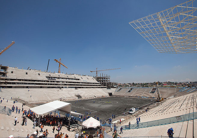 The still-unfinished stadium in Sao Paulo is scheduled to host the World Cup's opening game in 2014.