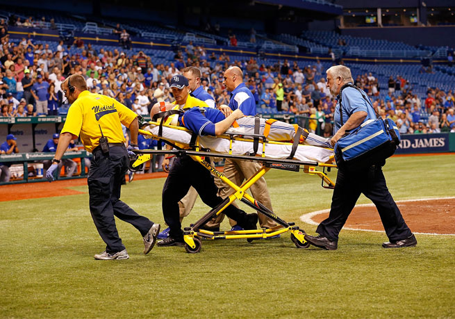 The Blue Jays said J.A. Happ was taken to Bayfront Medical Center, where he was alert and undergoing tests.