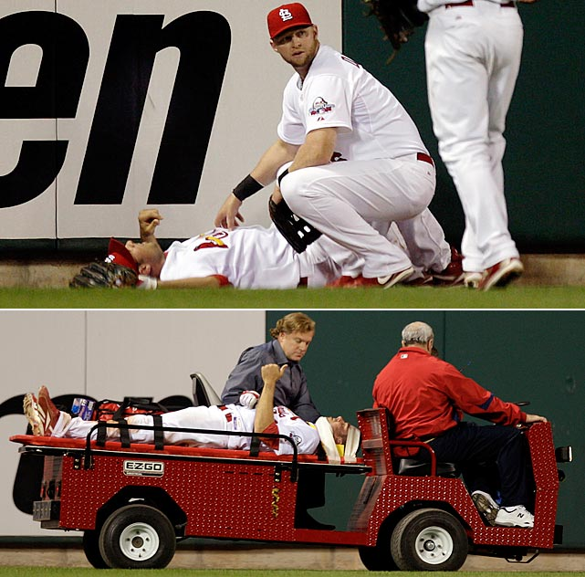 Cardinals outfielder Rick Ankiel smashed into the left-centerfield wall face-first after momentarily catching a long drive by the Phillies' Pedro Feliz. He never lost consciousness but did go on the disabled list.
