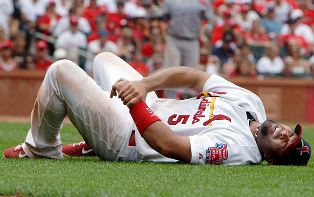 Albert Pujols broke his left wrist when the Royals' Wilson Betemit ran into him at first base. Pujos writhed on the grass in pain and was expected to miss six weeks. He returned after just three and finished with another terrific season: .299 average, 37 home runs and 99 RBIs while helping the Cardinals to a world championship.