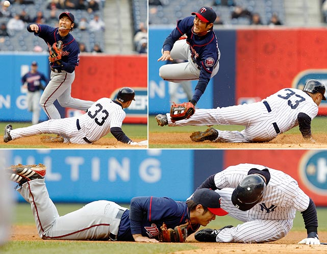 One week into his first major league season after coming over from Japan, Nishioka had his leg broken on a slide by the Yankees' Nick Swisher. He was out until mid-June and finished the year batting just .226.