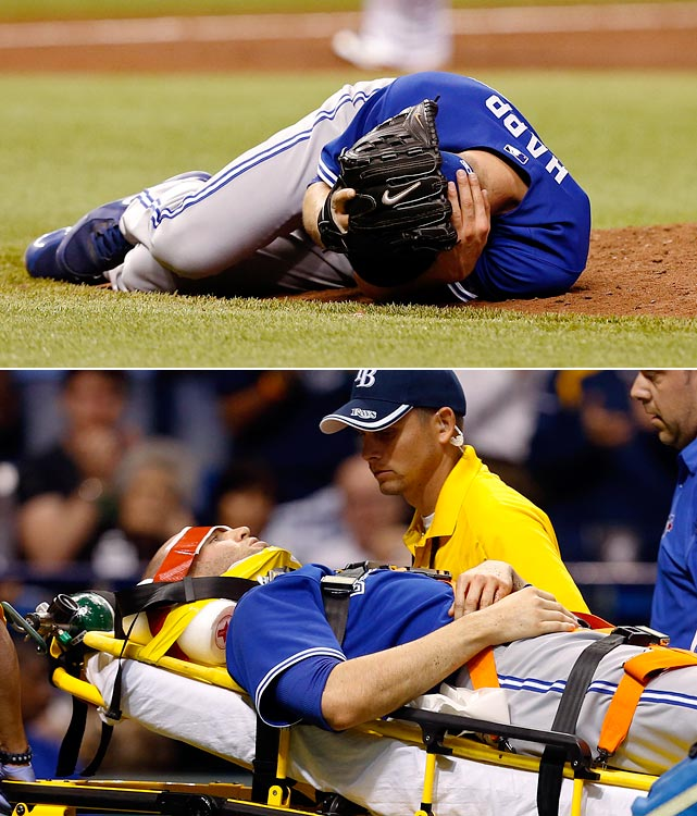 The Blue Jays' J.A. Happ took a come backer from the Rays' Desmond Jennings off the side of his head and remained on the ground for several minutes while being tended to by trainers and doctors. He was taken off the field on a stretcher and spent the night in the hospital before being released.