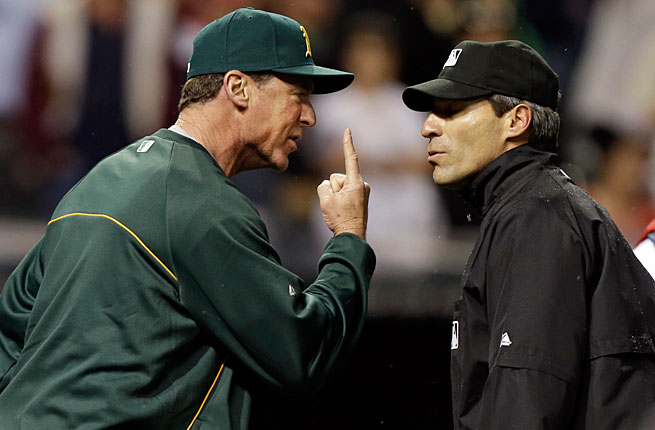 Bob Melvin and his A's were denied a game-tying home run by the umpiring crew led by Angel Hernandez.