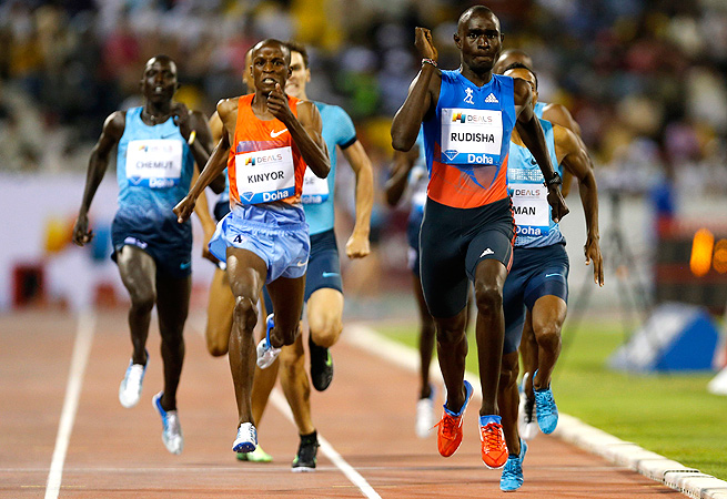 David Rudisha clocked a time of 1 minute and 43.87 seconds to win the 800 meters.
