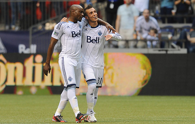 Russell Tiebert, right, scored his first two MLS goals in Saturday's 3-1 win over the L.A. Galaxy.