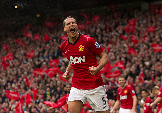 Manchester United's Rio Ferdinand reacts after scoring the deciding goal against Swansea on Sunday.