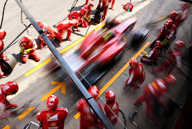 Felipe Massa of Brazil streaks out of his box in his Ferrari during the Formula One Spanish Grand Prix at the Catalunya track in Spain on Sunday.