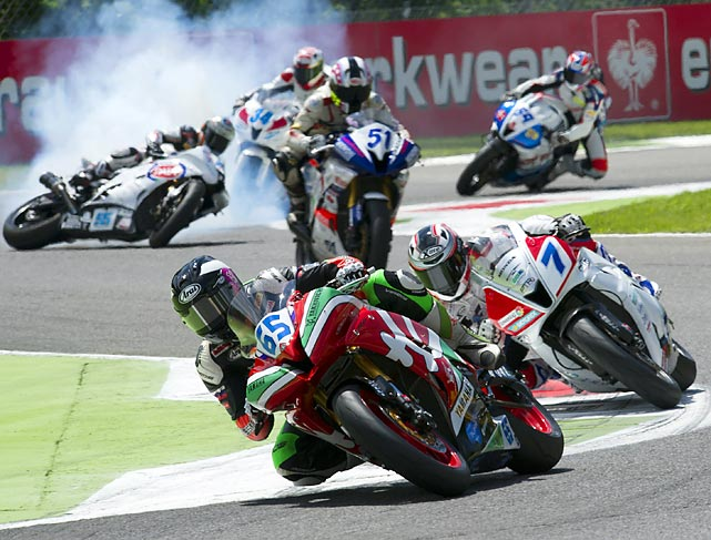 Massimo Roccoli crashes out during the SuperSport race of World Superbikes in round four of the 2013 Supersport FIM World Championship at Autodromo di Monza on Sunday.
