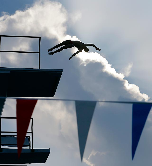 Steel Johnson makes a leap during the semifinal round of the 10-meter platform event at the USA Diving Grand Prix on Thursday.