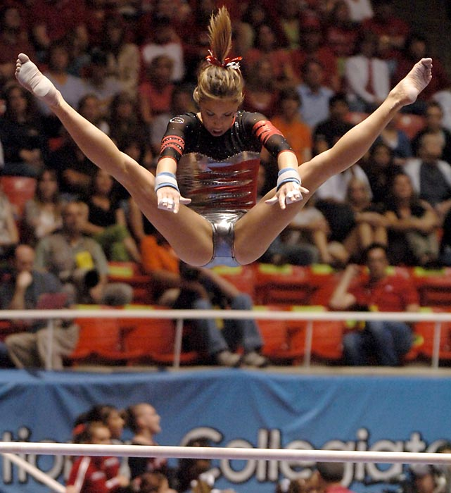 "Kupets' college coach called her the ""Muhammad Ali of gymnastics"" after she closed her career as the sport's most decorated collegian. After Kupets won a bronze medal in the uneven bars at the 2004 Olympics, she showed her all-around dominance at Georgia. She was the first college gymnast to win individual titles in every event, and her four titles during her senior season gave her a record nine NCAA championships. Georgia won the team title during all four seasons she competed."