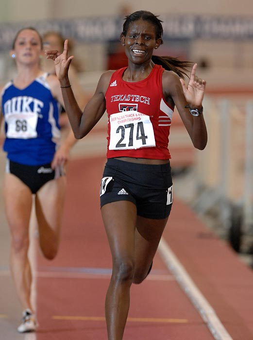 When Kipyego arrived from Kenya, she spent her first three semesters at South Plains College in Levelland, Texas. She won seven junior college national titles in cross country and track. But it was when she transferred to nearby Texas Tech that she put her name in discussion as the top college distance runner ever. Kipyego won three national cross country titles from 2006 to 2008 and six titles in distance events in indoor and outdoor track. She won the silver medal in the 10,000 meters at last year's London Olympics.