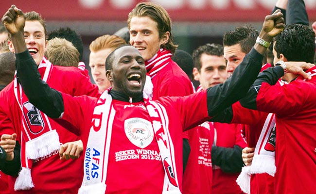Jozy Altidore celebrates after AZ Alkmaar defeated PSV Eindhoven to win the Dutch Cup on May 9.