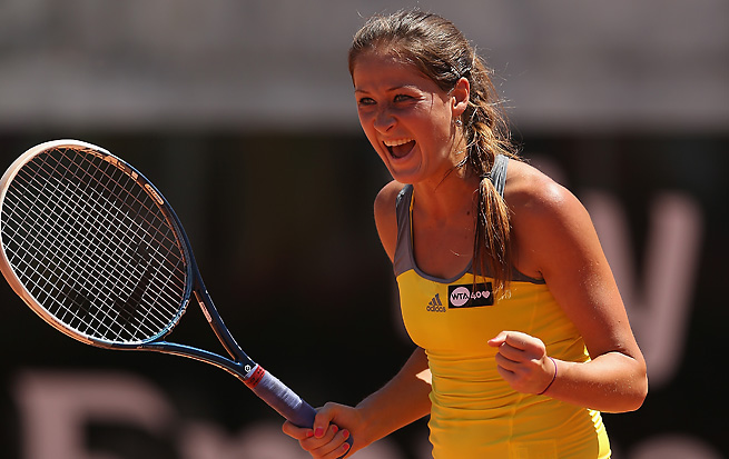 Bojana Jovanovski topped Caroline Wozniacki on Tuesday, furthering Wozniacki's struggles on clay.