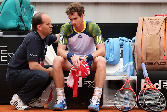 Andy Murray retired from his second round match with an unspecified injury on Wednesday afternoon.