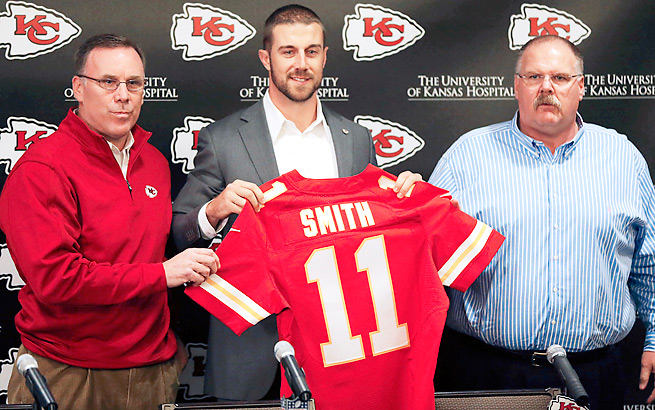 GM John Dorsey (left), Alex Smith and Andy Reid bring hope for a quick turnaround in Kansas City.