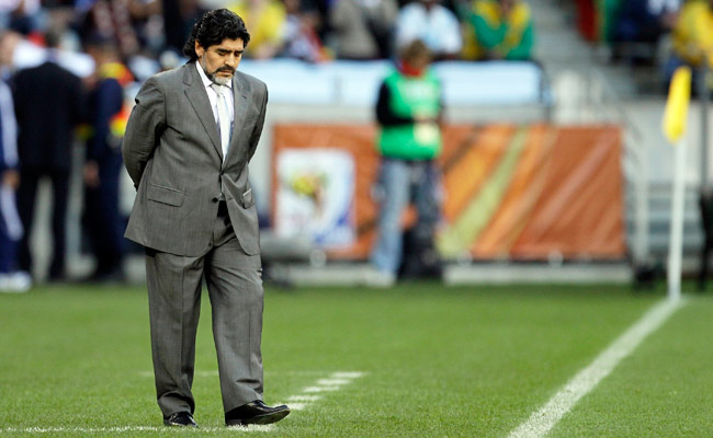 Diego Maradona was Argentina's head coach during the 2010 World Cup but was fired afterwards.