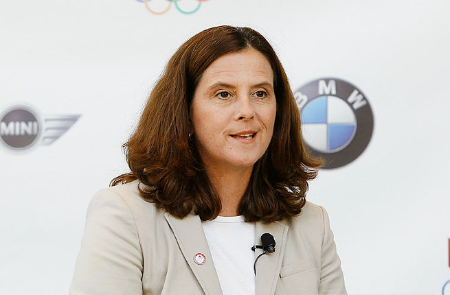 Lisa Baird, CMO of USOC, speaks during a press conference to announce a partnership with BMW Group.