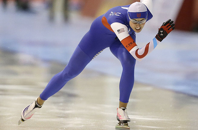 Lauren Cholewinski races in the 500 meter event of the U.S. single distance long track championships.