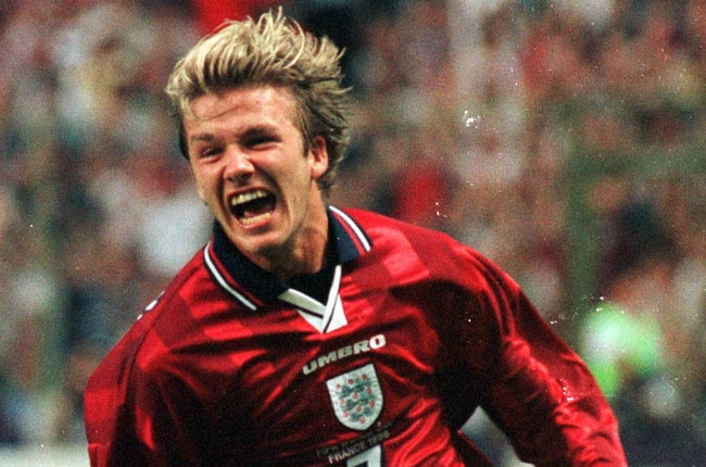 David Beckham scored his first international goal during the 1998 World Cup against Colombia.