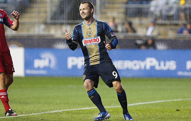Jack McInerney scored his MLS-leading eighth goal against Chicago in a 1-0 win on Saturday.
