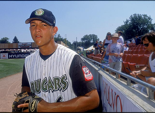 A youthful Cabrera as a member of the Class A Kane County Cougars during a game against the Lansing Lugnuts in August 2001. Eleven years later Cabrera would become MLB's first Triple Crown winner in 45 years.