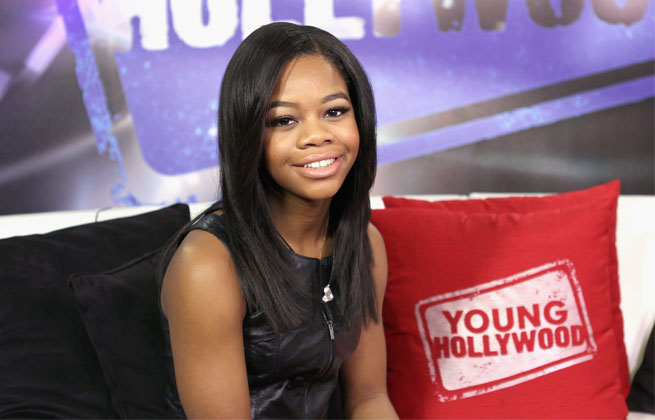 Gabby Douglas, pictured here promoting her new book in Los Angeles, returned to the gym for the first time since the London Olympics.